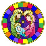 Stained glass illustration on biblical theme, Jesus baby with Mary and Joseph, abstract figures on blue background, round image i. Illustration in stained glass stock illustration