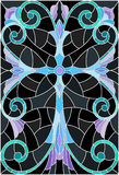 Stained glass illustration  with a blue cross on a dark background with patterns and swirls Stock Photos