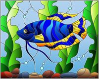 Stained glass illustration  blue  fish  on the background of water and algae. Illustration in stained glass style blue  fish  on the background of water and Royalty Free Stock Images