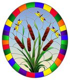 Stained glass illustration with bouquet of bulrush and dragonflies on a sky background ,round image in bright frame. Illustration in stained glass style with royalty free illustration