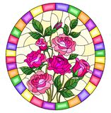 Stained glass illustration with a bouquet of pink roses on a yellow background in a bright frame,oval image royalty free illustration