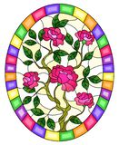 Stained glass illustration with  a bouquet of pink  roses on a yellow  background in a bright frame,oval  image stock illustration