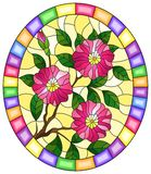 Stained glass illustration with a branch of a flowering plant with pink flowers on a yellow background in a bright frame, oval ima. Illustration in stained glass royalty free illustration