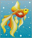 Stained glass illustration  with bright gold fish on the background of water and air bubbles. Illustration in stained glass style with bright gold fish on the Stock Images