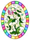 Stained glass illustration with Bush green peas, leaves, shoots, pods and flowers on a light background, oval picture in bright fr. Illustration in stained glass vector illustration