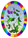 Stained glass illustration Bush green peas, leaves, shoots, pods and flowers on a sky background, oval picture, in bright frame. Illustration in stained glass royalty free illustration
