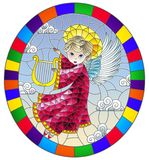 Stained glass illustration with cartoon in pink dress angel playing the harp against the cloudy sky, round image in bright frame stock illustration