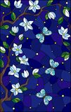 Stained glass illustration with cherry blossom tree and light butterflies on blue starry sky background. Illustration in stained glass style with cherry blossom royalty free illustration
