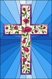 Stained glass illustration  with Christian cross decorated with  pink roses on blue background. Illustration in stained glass style with Christian cross Royalty Free Stock Image