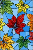 Stained glass illustration  with colorful leaves of chestnut trees on a blue  background Royalty Free Stock Photography