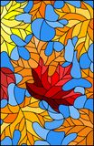 Stained glass illustration with colorful leaves  maple trees on a blue background. Illustration in stained glass style with colorful leaves Royalty Free Stock Photo