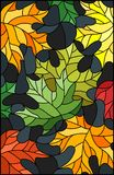 Stained glass illustration with colorful leaves  maple trees on a dark background. Illustration in stained glass style with colorful leaves Stock Images