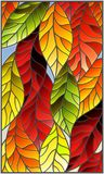 Stained glass illustration with colorful leaves of trees on a blue background. Illustration in stained glass style with colorful leaves of Royalty Free Stock Image