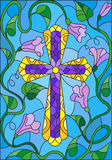 Illustration in stained glass style  with a cross in the sky and flowers Royalty Free Stock Photography
