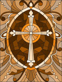 Illustration in Stained glass style  with a cross in the sky and flowers,brown tone , Sepia Stock Image