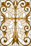 Illustration in stained glass style  with a cross in the sky and flowers,brown tone , Sepia Royalty Free Stock Photography