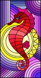 Stained glass illustration with fabulous abstract red fish seahorse, fish on purple background. Illustration in stained glass style with fabulous abstract red royalty free illustration