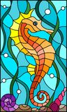 Stained glass illustration with a  fish seahorse  on the background of water and algae. Illustration in stained glass style with a  fish seahorse on the Stock Images