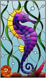 Stained glass illustration with a  fish seahorse  on the background of water and algae. Illustration in stained glass style with a  fish seahorse Stock Image