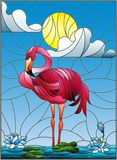 Stained glass illustration  with Flamingo , Lotus flowers and reeds on a pond in the sun, sky and clouds Stock Images