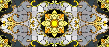 Stained glass illustration  with floral ornament ,imitation gold on dark background   Royalty Free Stock Photo