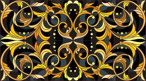 Stained glass illustration  with floral ornament ,imitation gold on dark background with swirls and floral motifs Stock Images