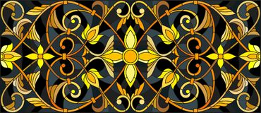 Stained glass illustration with floral ornament ,imitation gold on dark background with swirls and floral motifs Royalty Free Stock Photo