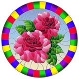 Stained glass illustration with flower of pink rose on a blue sky background in a bright frame,round image. Illustration in stained glass style flower of pink stock illustration