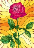 Stained glass illustration flower of pink rose on a orange background. Illustration in stained glass style flower of pink rose on a orange background Royalty Free Stock Photos