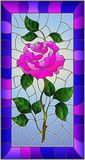 Stained glass illustration  flower of pink rose on a sky background with bright frame. Illustration in stained glass style flower of pink rose on a sky Stock Photography