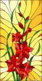 Stained glass illustration  flower of red gladiolus on a orange background. Illustration in stained glass style flower of red gladiolus on a orange background Stock Images