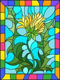 Stained glass illustration  flower of Taraxacum  on a blue background in a bright frame. Illustration in stained glass style flower of Taraxacum  on a blue Royalty Free Stock Photography