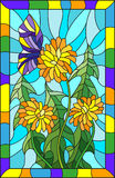 Stained glass illustration  flower of Taraxacum and butterfly on a blue background in a bright frame. Illustration in stained glass style flower of Taraxacum and Stock Photo