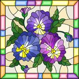 Stained glass illustration  with flowers, buds , leaves and flowers of pansy on a light background in a bright frame Stock Images