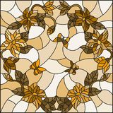 Stained glass illustration with  flowers in a circle and butterflies,brown tone,Sepia Royalty Free Stock Image