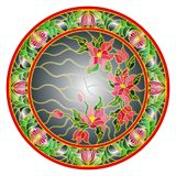 Stained glass illustration  flowers on a dark background  in a bright floral frame , round picture Stock Photos