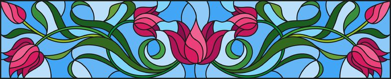 Stained glass illustration  with flowers, leaves and buds of pink tulips on a blue background, symmetrical image, horizontal orien Stock Photos