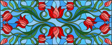 Stained glass illustration with flowers, leaves and buds of red tulips on a blue background, symmetrical image, horizontal orienta. Illustration in stained glass Royalty Free Stock Photo