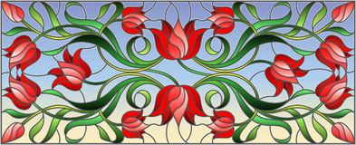 Stained glass illustration with flowers, leaves and buds of red tulips on a blue background, symmetrical image, horizontal orienta. Illustration in stained glass Royalty Free Stock Photos