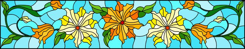 Stained glass illustration with flowers, leaves and buds of yellow  flowers on a blue background, symmetrical image, horizontal or. Illustration in stained glass Stock Images