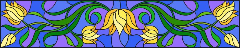 Stained glass illustration with flowers, leaves and buds of yellow tulips on a blue background, symmetrical image, horizontal orie. Illustration in stained glass Royalty Free Stock Image