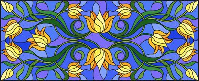 Stained glass illustration with flowers, leaves and buds of yellow tulips on a blue background, symmetrical image, horizontal ori. Illustration in stained glass Stock Photo