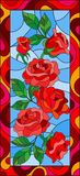 Stained glass illustration with flowers and leaves of red roses in a bright frame,vertical orientation. Illustration in stained glass style with flowers and royalty free illustration