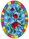 Stained glass illustration with flowers , leaves of rose and butterflies on the blue background,oval picture frame in bright. Illustration in stained glass style royalty free illustration