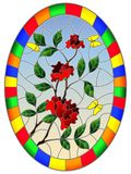 Stained glass illustration with flowers , leaves of rose and butterflies on the sky background,oval picture frame in bright. Illustration in stained glass style vector illustration