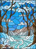 Stained glass illustration  with a frozen Creek in the background of the  sky, snowy mountains,  trees and fields. Illustration in stained glass style with a Royalty Free Stock Photo