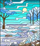Stained glass illustration  with a frozen Creek in the background of the  sky, snowy   trees and fields. Illustration in stained glass style with a frozen Creek Royalty Free Stock Photography