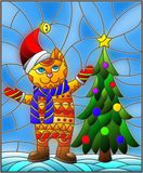 Stained glass illustration  with funny cat in Santa hat and Christmas tree on a background of snow and sky. Illustration in stained glass style with funny cat in Royalty Free Stock Photos