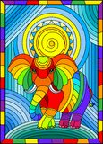 Stained glass illustration with funny rainbow elephant and sun on abstract background in bright frame. Illustration in stained glass style with funny rainbow vector illustration