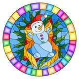 Stained glass illustration  with a funny snowman, ribbon and Holly branches  on a blue background, round picture frame Royalty Free Stock Images